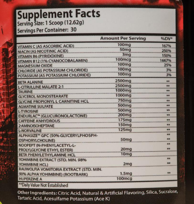 Состав Xcel Sports Nutrition Detonator X