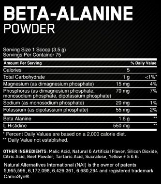Состав Optimum Nutrition Beta Alanine Powder