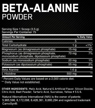 Состав Optimum Nutrition Beta Alanine Powder