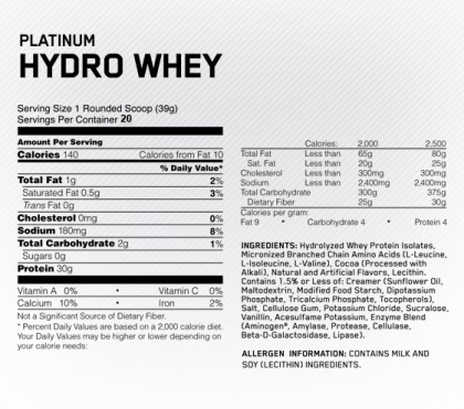 Состав Optimum Nutrition Platinum Hydrowhey