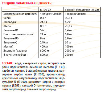Состав Power System Guarana Liquid 200 мг