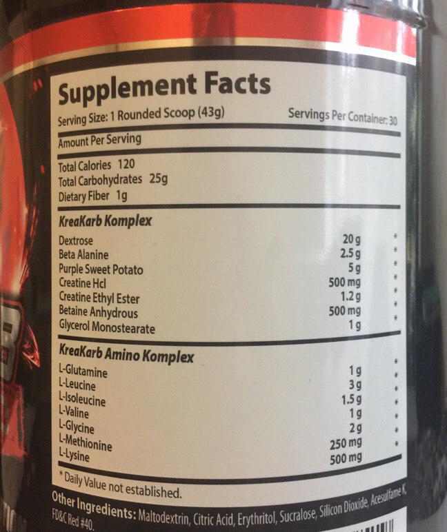Состав Xcel Sports Nutrition Krea-Karb