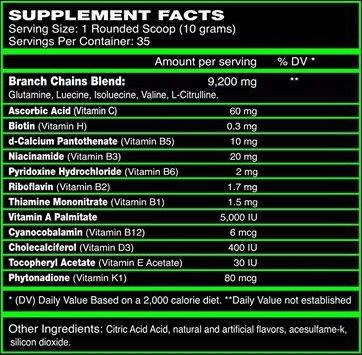 Состав Xcel Sports Nutrition Ultimate-X8 BCAA
