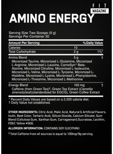 Состав Optimum Nutrition Amino Energy