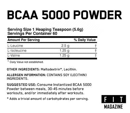 Состав Optimum Nutrition BCAA 5000 Powder