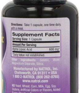 Состав Natrol Alpha Lipoic Acid 600 мг