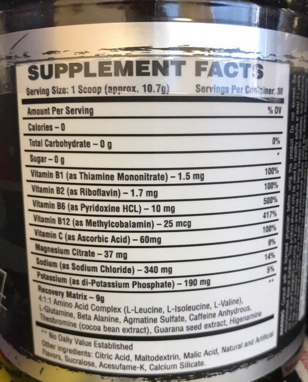 Состав Bad Wolf Nutrition Enhanced Aminos