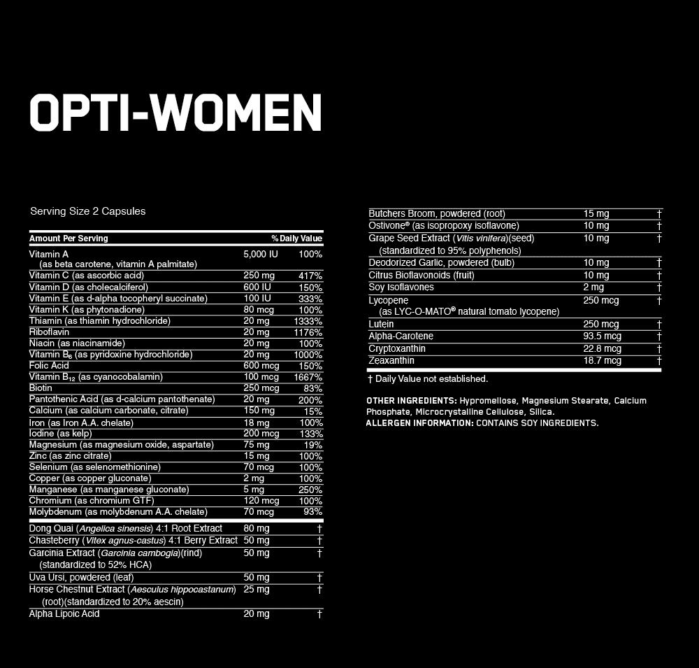 СоставOptimum Nutrition Opti-Women (120 капсул)