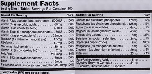 СоставUniversal Nutrition Daily Formula