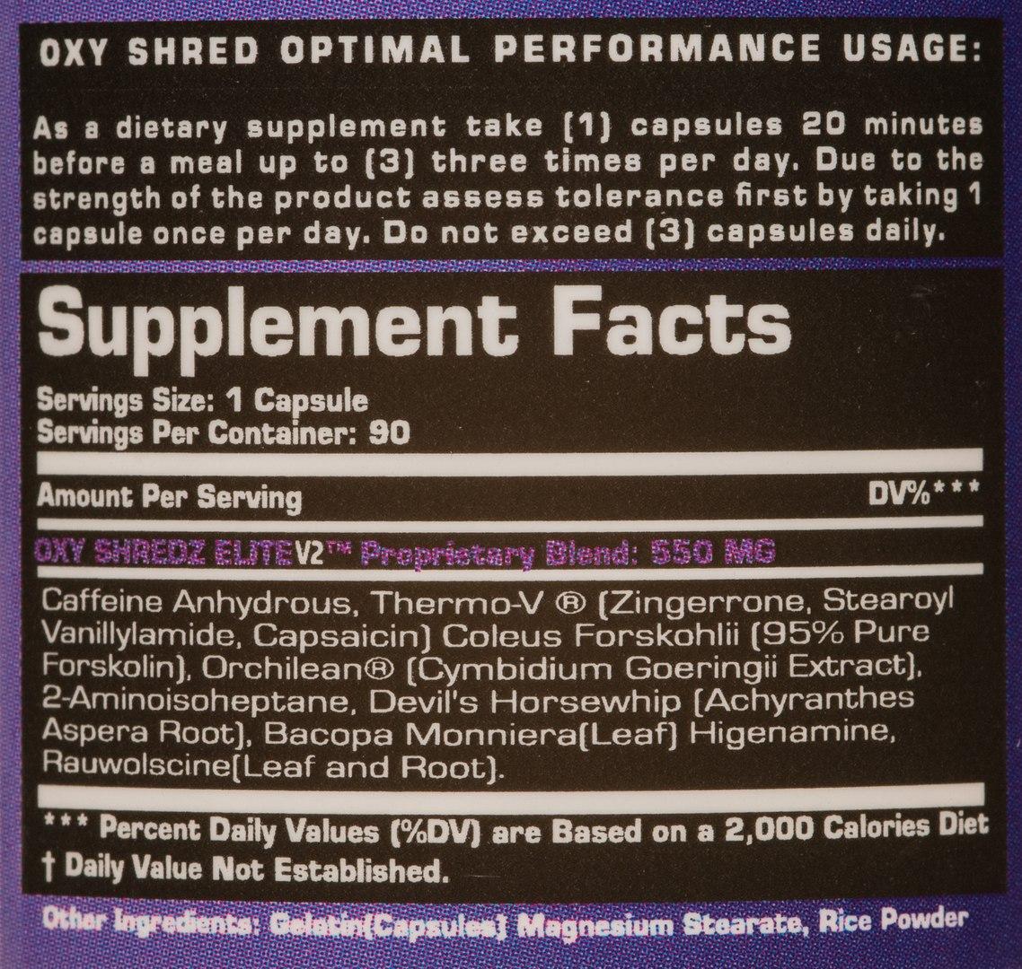Расшифровка состава Oxy Shredz Elite