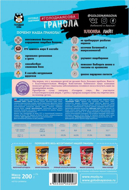 Состав диетической гранолы