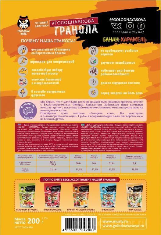 Состав протеиновой гранолы