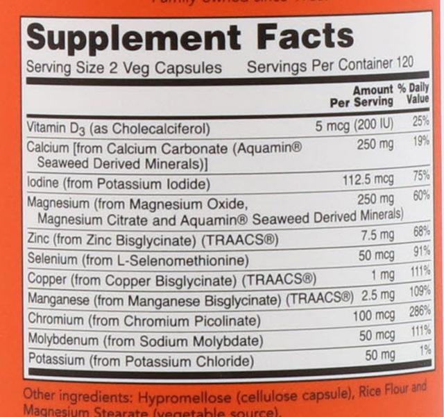 СоставNow Foods Полный спектр минералов