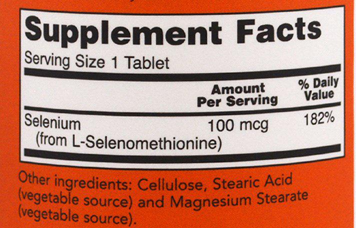 СоставNow Foods Селениум 100 мг