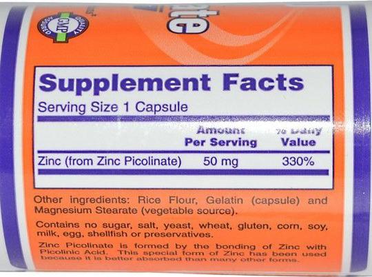 СоставNow Foods Цинк пиколинат 50 мг