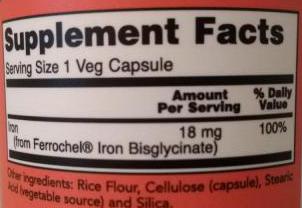 СоставNow Foods Iron Double Strength