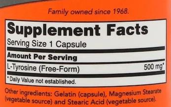 СоставNow Foods L-Тирозин